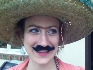 One year on Ocho de Mayo, we had a fiesta. I gave April Frida Kahlo eyebrows because she loves Frida.